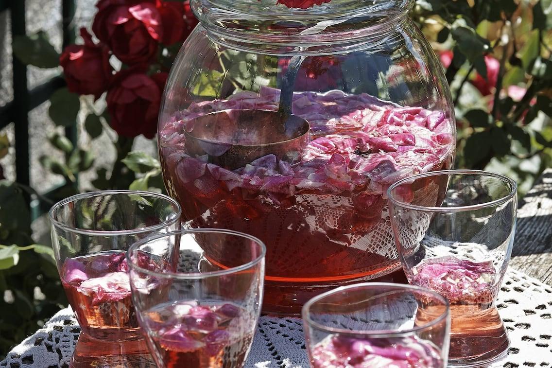 Rosenbowle, Bowle, Rosenblüten, Getränk, Erfrischung, Rezept
