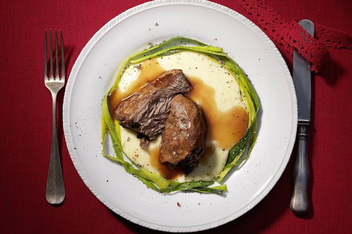 Kalbfleisch, Selleriepüree, Rezept, Honiglauch