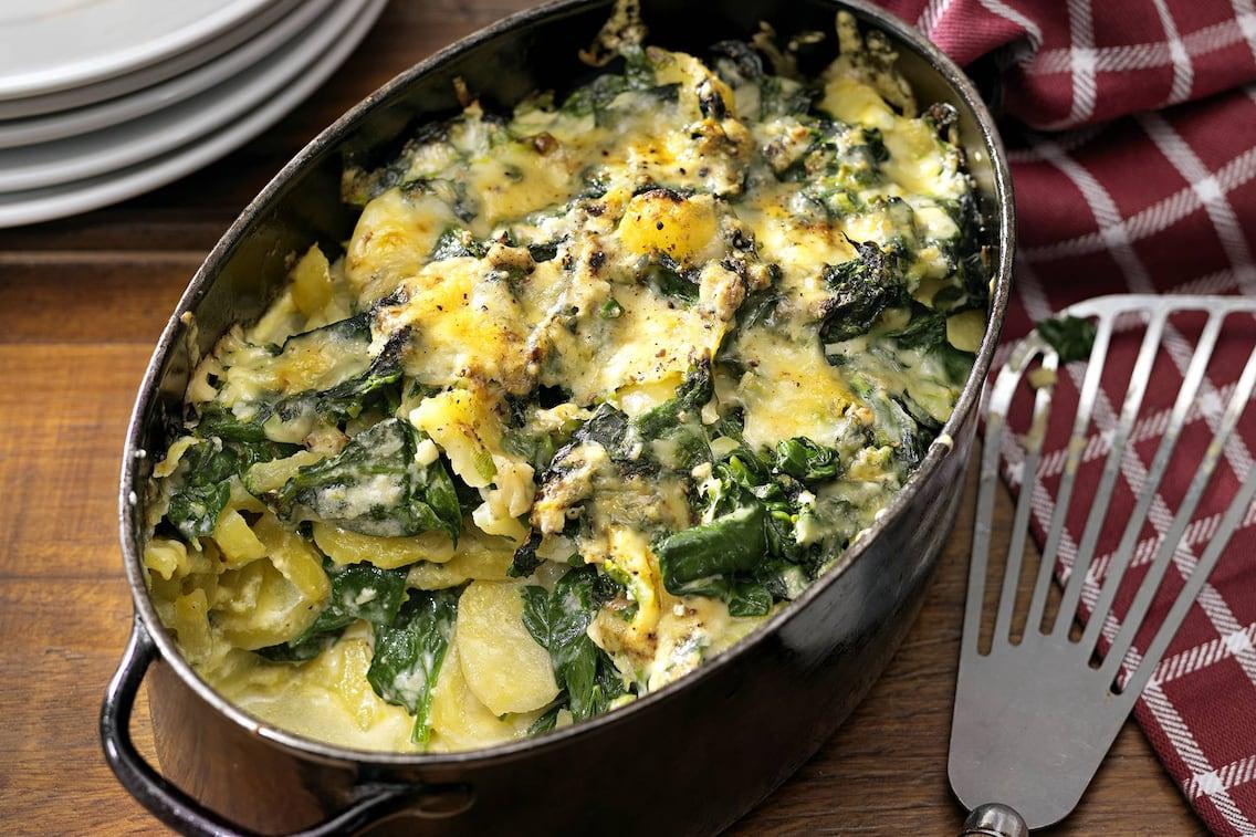 Spinatauflauf, Erdäpfel, Kartoffel, Käse, Blattspinat, Auflauf