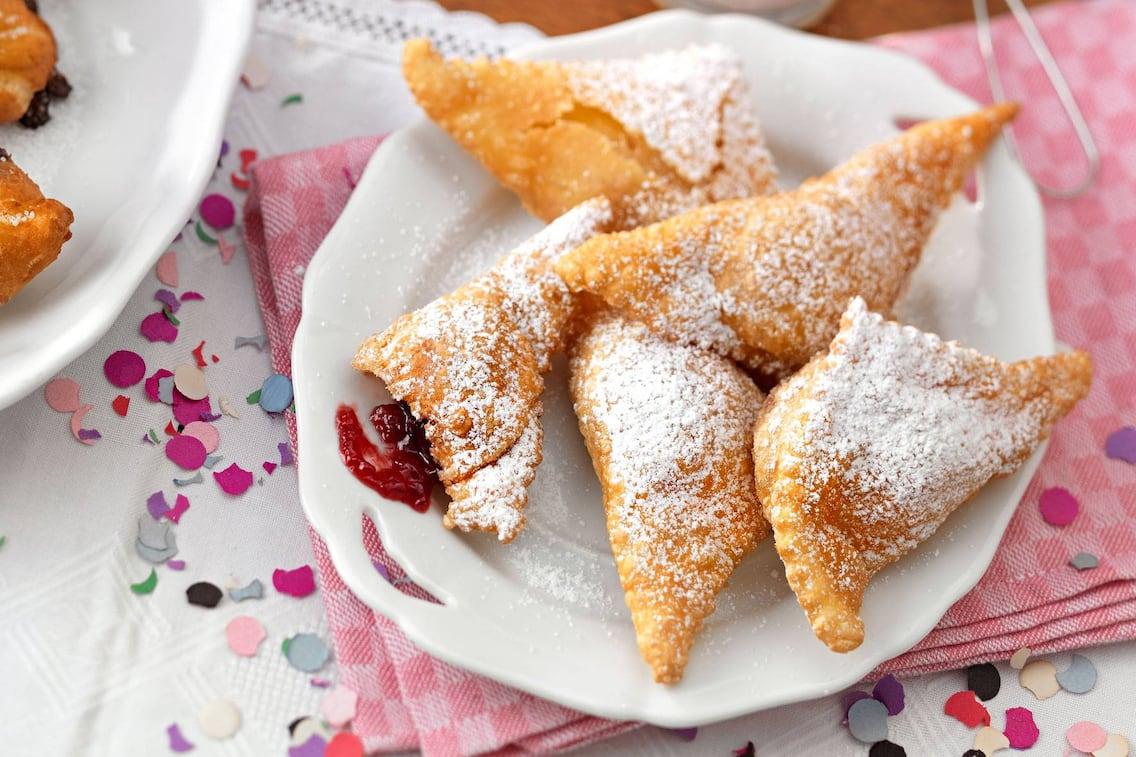 Süßer Polsterzipf, Teigtaschen, Marmelade, Fasching, Schmalzgebäck
