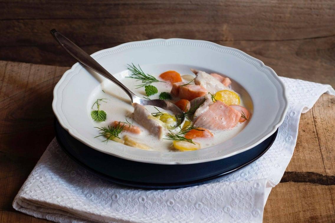 Fisch, Cremesuppe, Karotten, Suppe, Dille, Servus Rezept