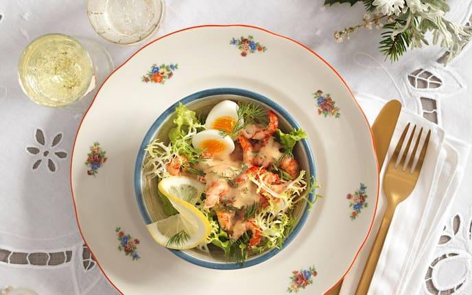 Ei, Flusskrebse, Zitronen, grüner Salat, Weißwein, Vorspeise, Servus Rezept