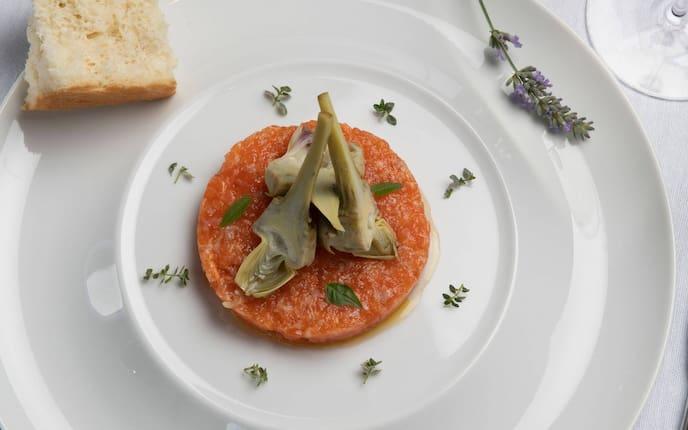 Tatar, Fisch, Artischoke, Weißbrot, Lavendelblüten, Vorspeise, Servus Rezept