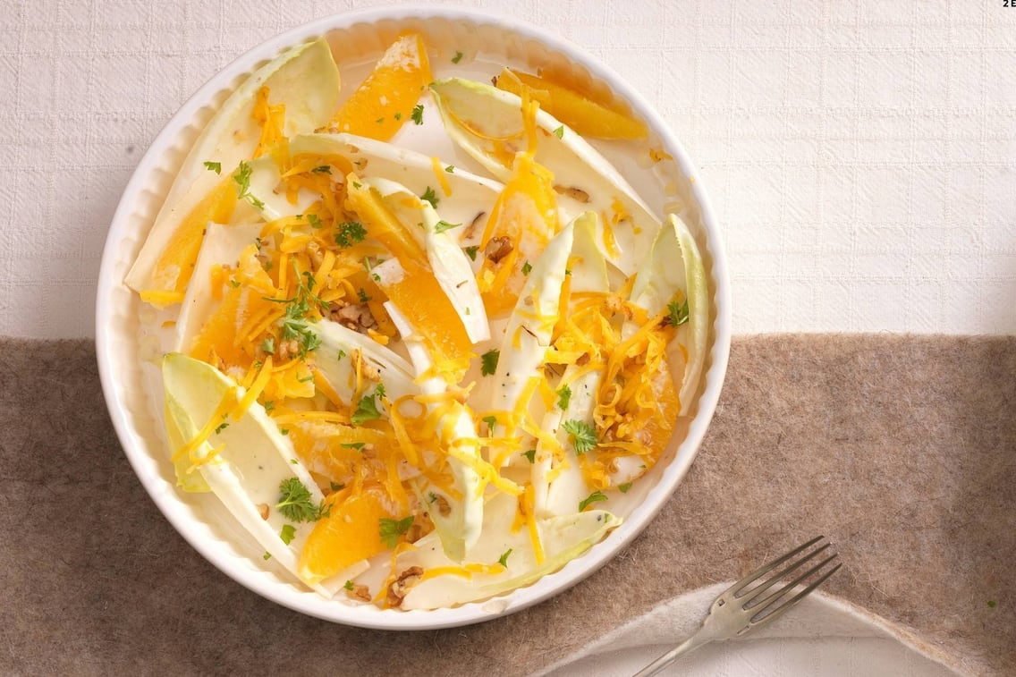 Chicorée, Salat, Orangen, Kürbis, Kräuter, Vorspeise, Servus Rezept