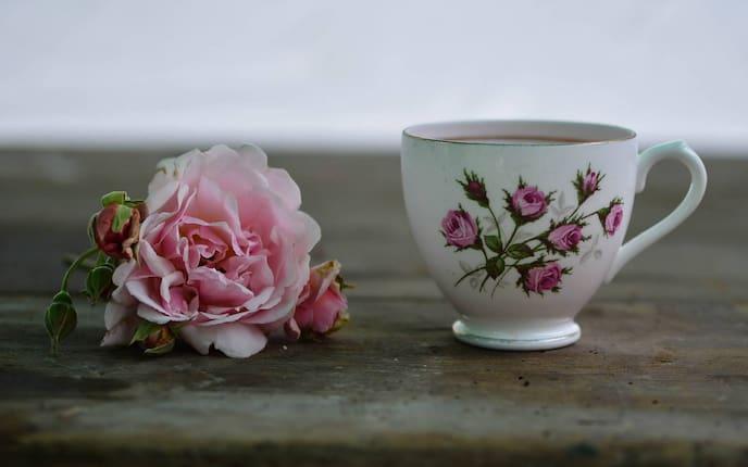 Tasse, Tee, Teetasse, Rose