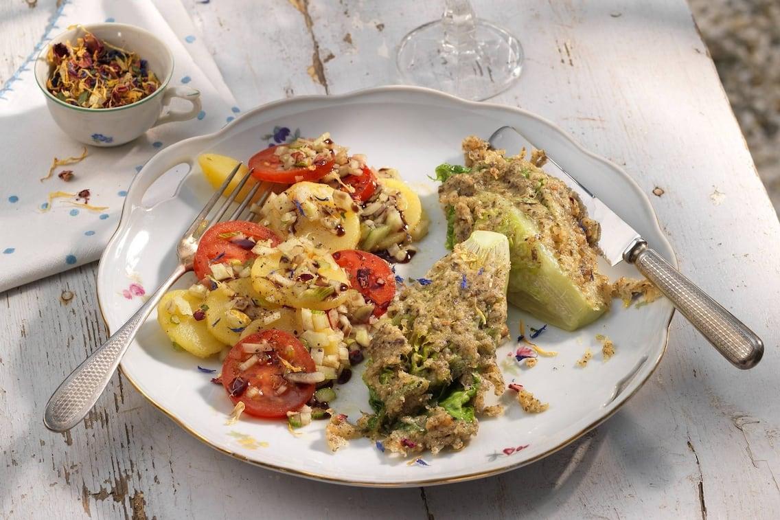 Salat, Kürbiskerne, Kruste, Besteck, Wein, Blüten, Sauvignon Blanc, Paradeiser, Salatherzen, Erdäpfel
